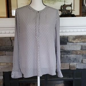 Dalian dress shirt tunic white gray abstract